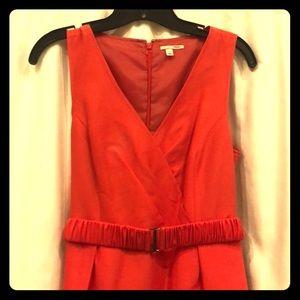 Red V Neck knee length dress